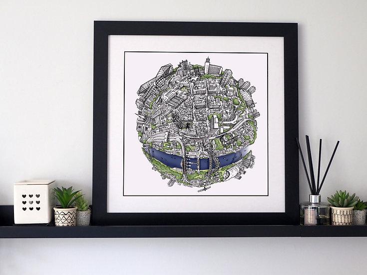 The Newcastle Globe (2018) Hand Drawn City Map Art