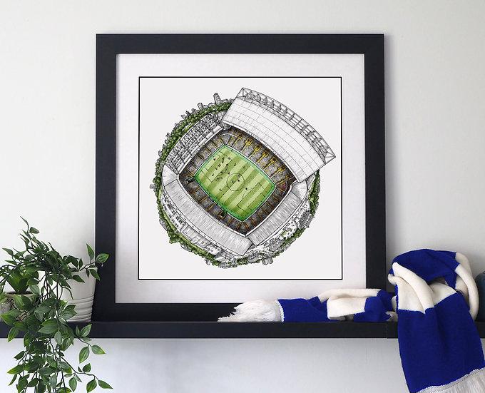 The Elland Road Globe (2020) Hand Drawn Leeds United Art