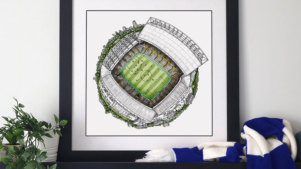The Elland Road Globe (2020) Hand Drawn Leeds United Art