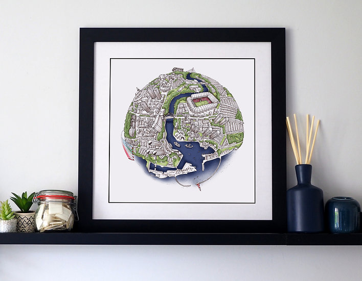 The Sunderland Globe (2018) Hand Drawn City Map Art