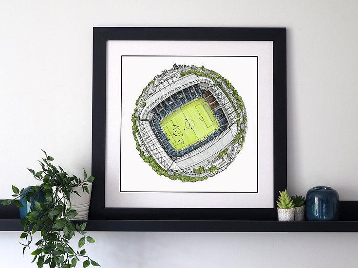 The Hawthorn Stadium Globe (2020) Hand Drawn West Bromwich Albion FC Art