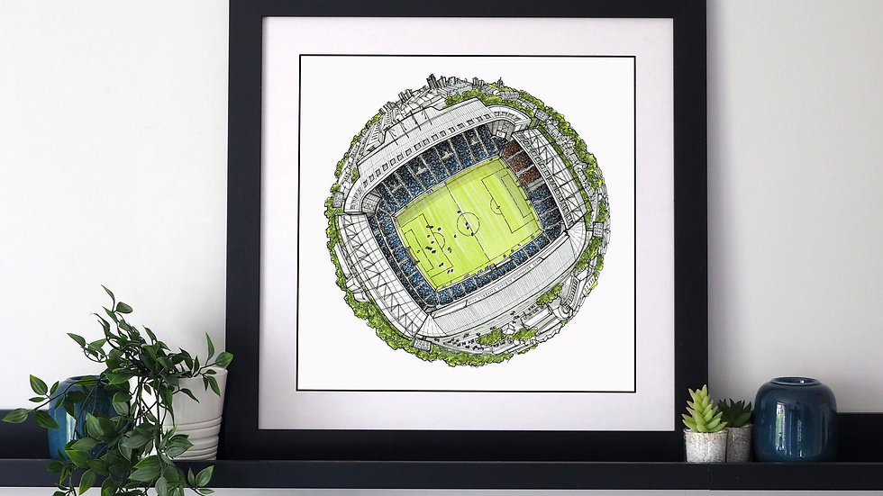 The Hawthorn Stadium Globe (2020) Hand Drawn West Bromwich Albion FC Art