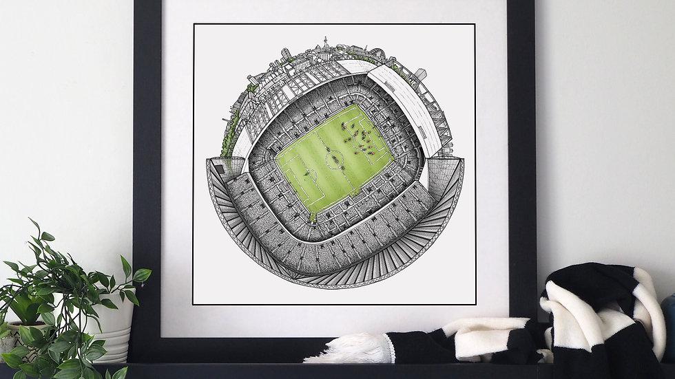 The St James' Park Globe (2020) Hand Drawn Newcastle United Art