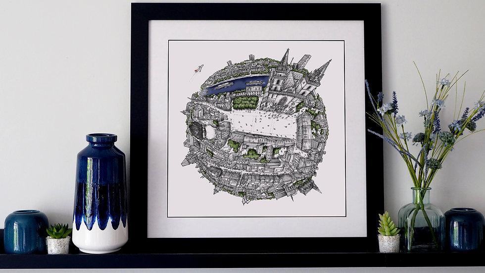 The Basel Globe (2020) Hand Drawn City Map Art