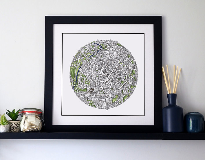 The Manchester Globe (2017) Hand Drawn City Map Art