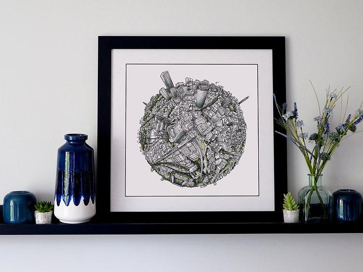 The Birmingham Globe (2020) Hand Drawn City Map Art