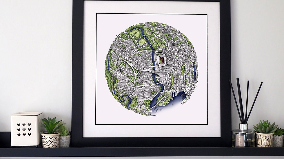 The Cardiff Globe (2019) Hand Drawn City Map Art