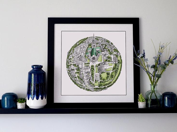The Chichester Globe (2020) Hand Drawn City Map Art