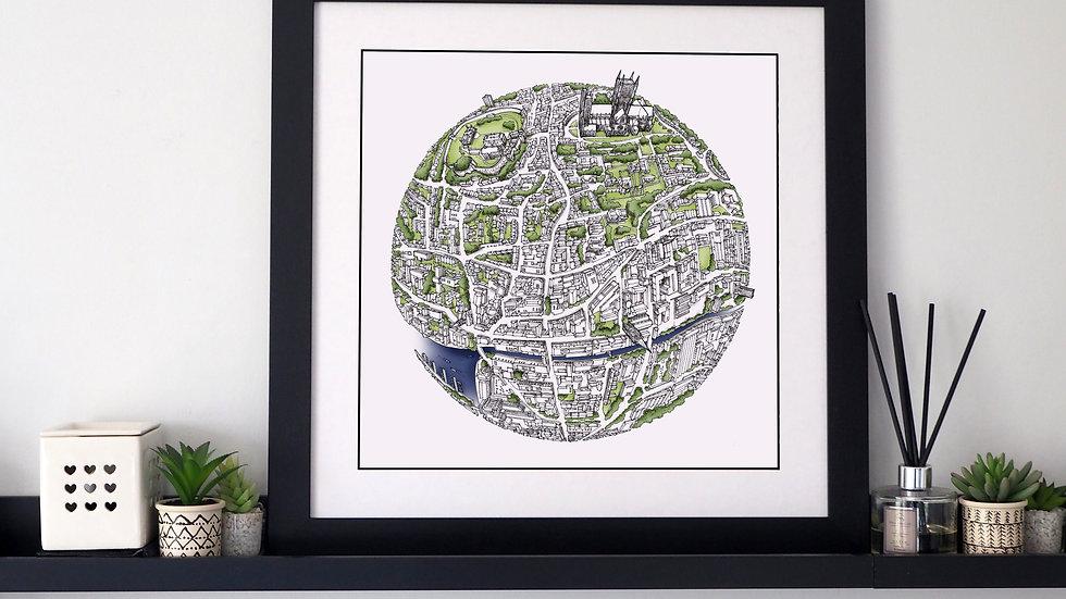 The Lincoln Globe (2018) Hand Drawn City Map Art
