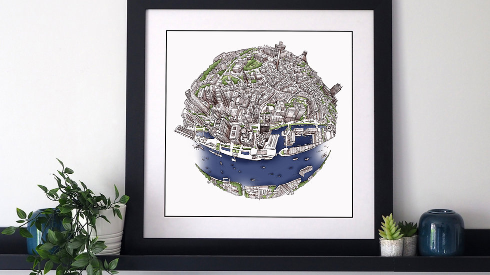 The Liverpool Globe (2018) Hand Drawn City Map Art