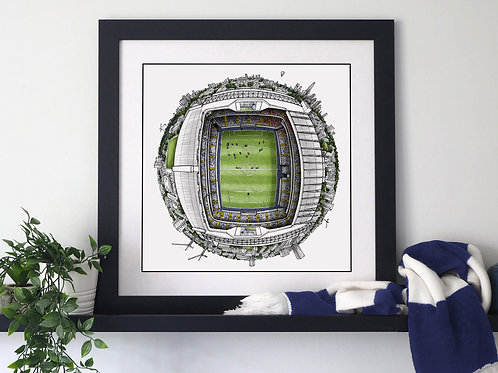 The White Hart Lane Globe (2020) Hand Drawn Tottenham Hotspur Art
