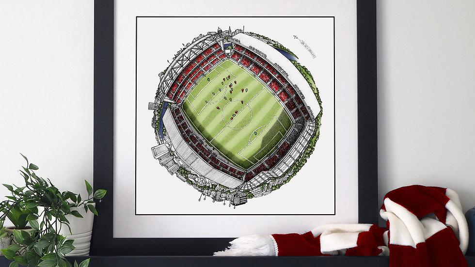 The City Ground Globe (2020) Hand Drawn Nottingham Forest Art