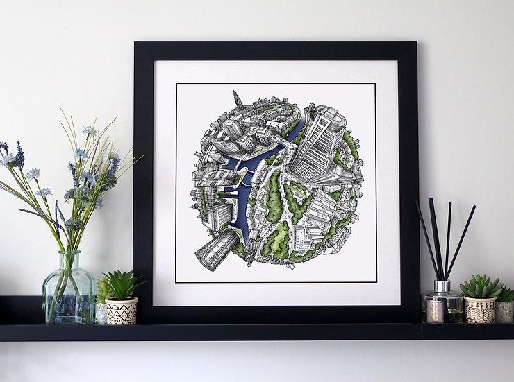 Leeds Waterfront (2019) Hand Drawn City Map Art