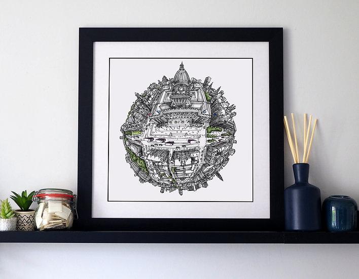 Leeds Town Hall (2019) Hand Drawn City Map Art
