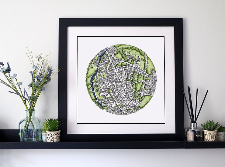 The Cambridge Globe (2017) Hand Drawn City Map Art