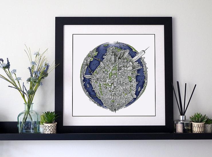 The New York Globe (2018) Hand Drawn City Map Art