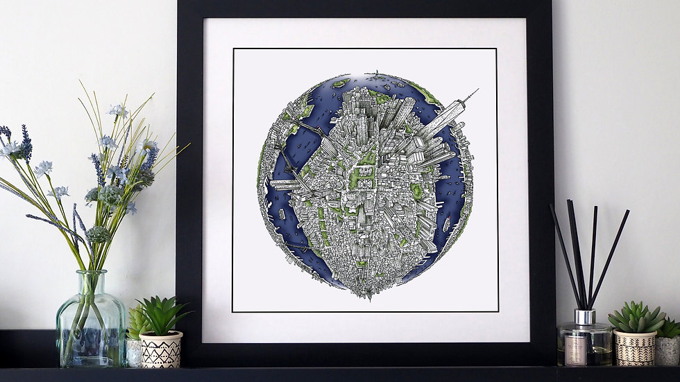 The New York Globe (2018) Hand Drawn City Map Art