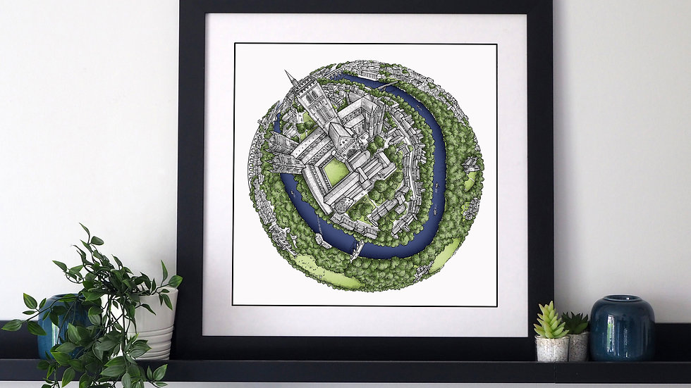 The Durham Globe (2020) Hand Drawn City Map Art
