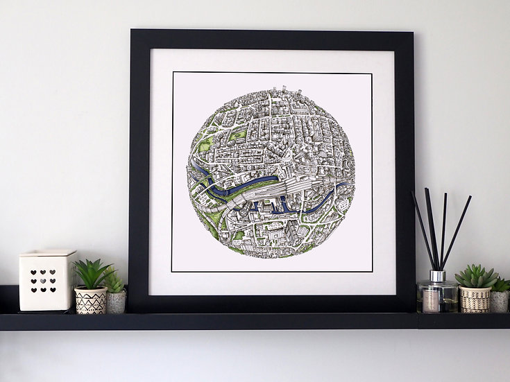 The Leeds Globe (2017) Hand Drawn City Map Art