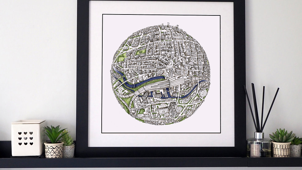 The Leeds Globe (2017) Hand Drawn City Map Art