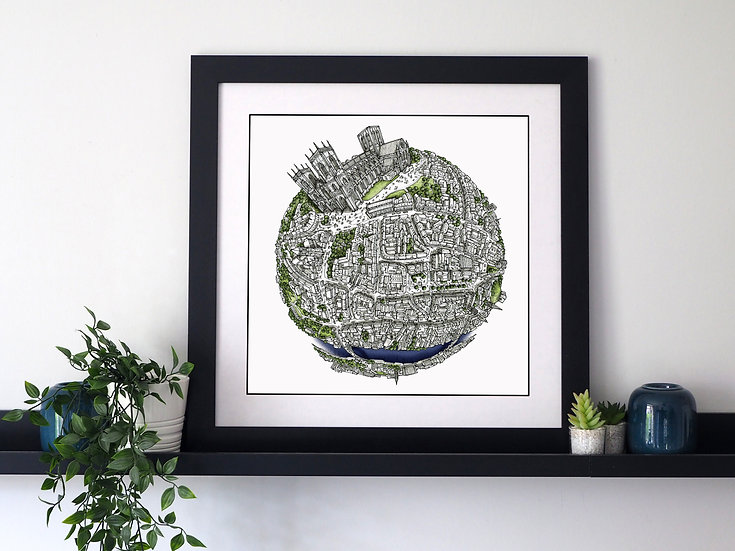 The York Globe (2020) Hand Drawn City Map Art