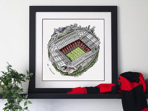 The Old Trafford Globe (2019) Hand Drawn City Map Art