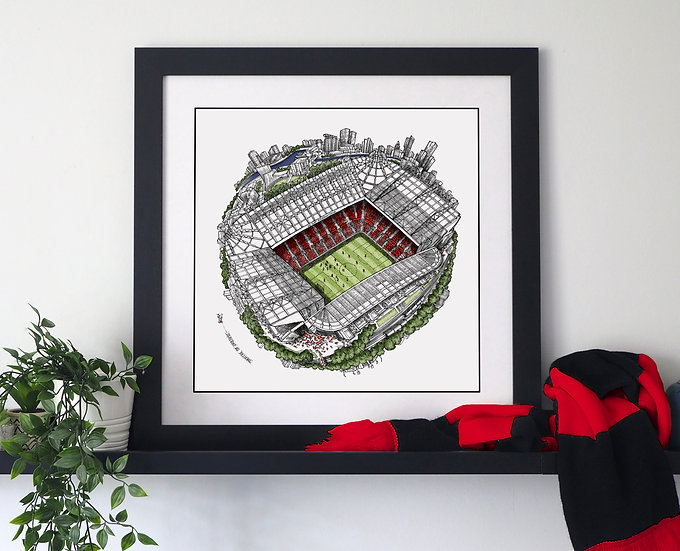 The Old Trafford Globe (2019) Hand Drawn City Map Art