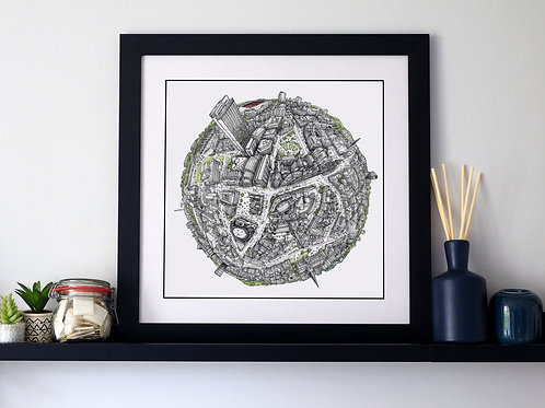 The Sheffield Globe (2020) Hand Drawn City Map Art