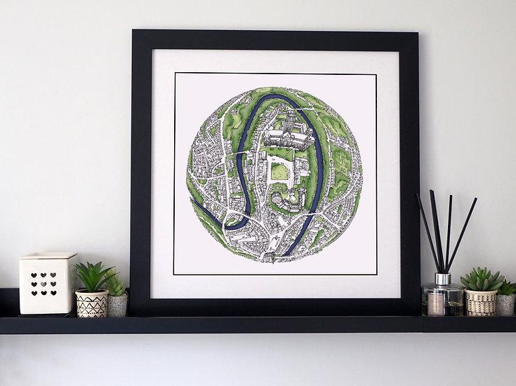The Durham Globe (2017) Hand Drawn City Map Art