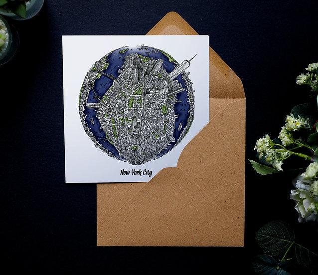 City Globe Greetings Cards - Hand Drawn City Map Art