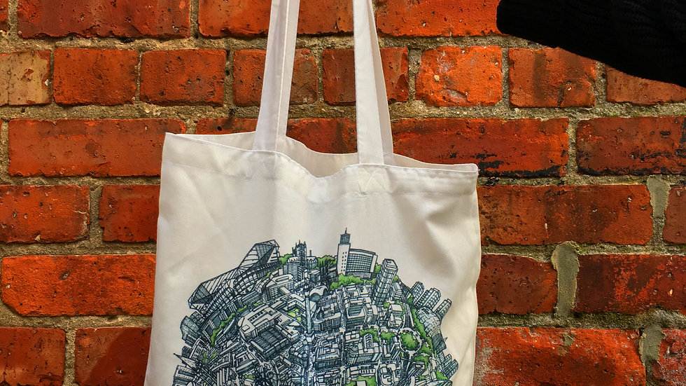 City Globe Canvas Tote Bags - Hand Drawn City Map Art
