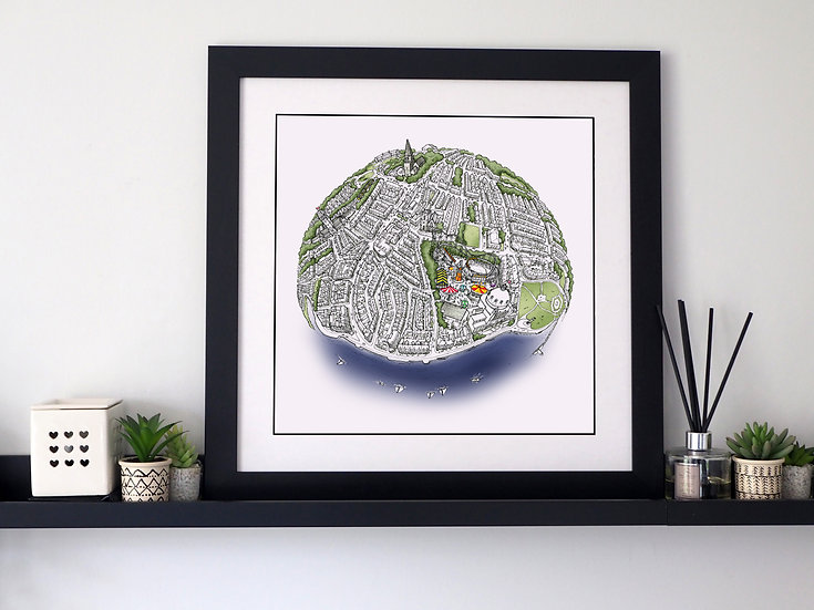 The Whitley Bay Globe (2019) Hand Drawn City Map Art