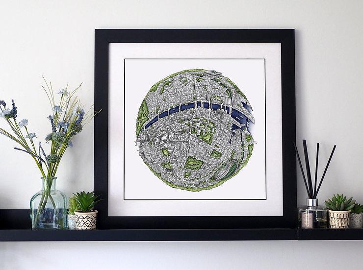 The Dublin Globe (2019) Hand Drawn City Map Art