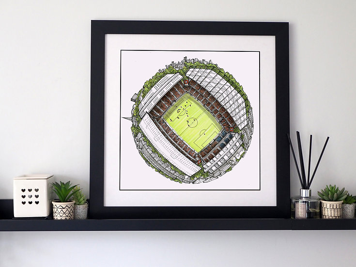 The Villa Park Globe (2020) Hand Drawn Aston Villa FC Art
