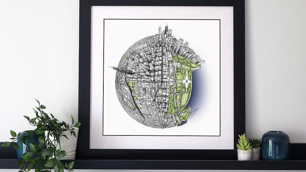 The Chicago Globe (2017) Hand Drawn City Map Art