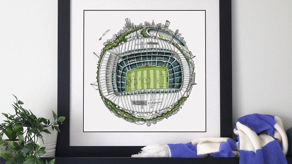The Etihad Stadium Globe (2019) Hand Drawn City Map Art