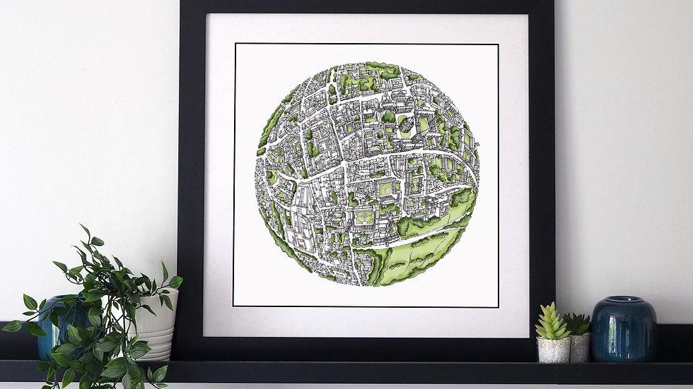 The Oxford Globe (2017) Hand Drawn City Map Art