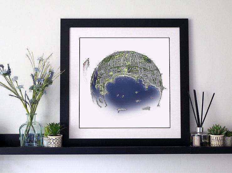 The North Tyneside Coast (2020) Hand Drawn City Map Art