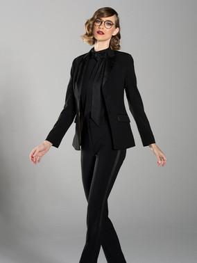 Black Peak Lapel Tuxedo Jacket & Black Slim Fit Tuxedo Pants