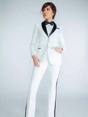Diamond White & Black Shawl Collar Tuxedo Jacket & Diamond White & Black Flare Fit Tuxedo Pants