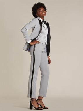 Gray & Black Peak Lapel Tuxedo Jacket & Gray & Black Slim Fit Tuxedo Pants