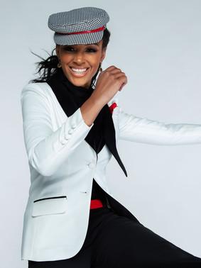 Diamond White & Black Shawl Collar Tuxedo Jacket & Black Wide Straight Fit Tuxedo Pants