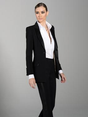 Black Peak Lapel Long Tuxedo Jacket & Black Slim Fit Tuxedo Pants