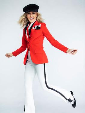 Red Peak Lapel Tuxedo Jacket & Diamond White Tuxedo Pants