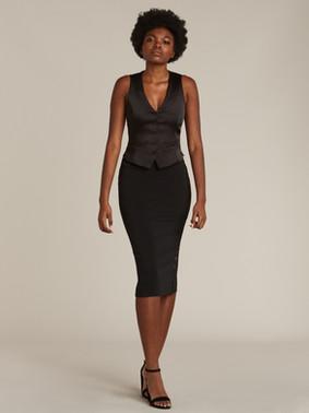 Black Vest & Black Tuxedo Skirt