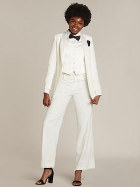 Diamond White Shawl Collar Long Tuxedo Jacket & Diamond White Straight Wide FIt Tuxedo Pants