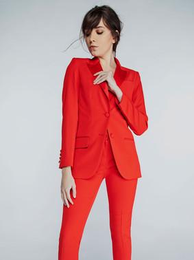 Red Peak Lapel Tuxedo Jacket & Red Ultra Slim Fit Tuxedo Pants