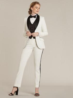 Diamond White & Black Shawl Collar Tuxedo Jacket & Diamond White & Black Slim Fit Tuxedo Pants