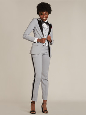 Gray Peak Lapel Tuxedo Jacket and Gray & Black Slim Fit Tuxedo Pants