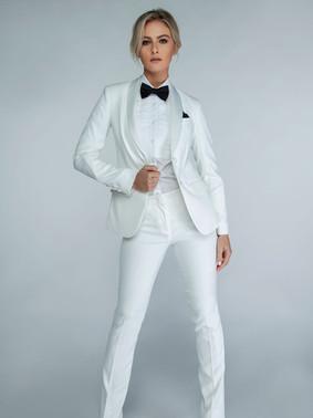 Diamond White Shawl Collar Tuxedo Jacket & Diamond White Slim Fit Tuxedo Pants